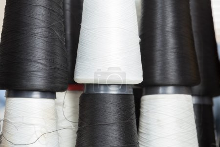 Black And White Thread Spools At Factory