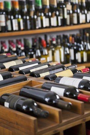 Wine Bottles Displayed In Supermarket