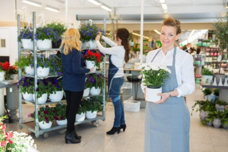Confident Florist Holding Flower Pot In Shop