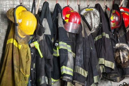 Firefighters Gear Hanging At Fire Station
