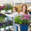 Mid adult female workers working in flower shop...