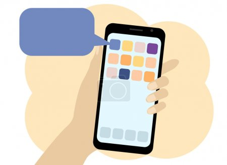 Photo for Vector drawing of a hand with a telephone. There are many mobile applications on the phone with a description of their operation, installation and removal - Royalty Free Image