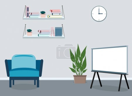 Photo for Indoors there is a presentation board for a business meeting next to an armchair and a potted plant. Vector drawing - Royalty Free Image
