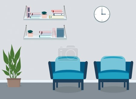 Photo for Indoors a presentation board for a business meeting. Nearby are two armchairs, shelves of books and a potted plant. Vector drawing - Royalty Free Image