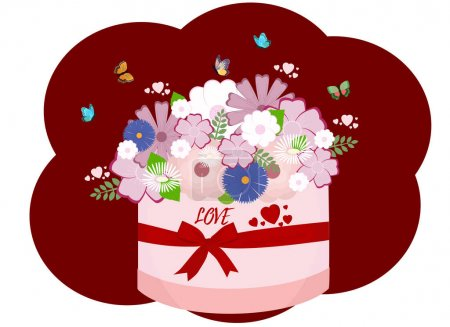 Photo for Vector illustration of a bouquet of flowers in a gift box tied with a ribbon. Butterflies are flying around. Many hearts and a declaration of love - Royalty Free Image