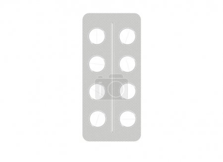 Photo for Vector illustration of white tablets packed in platinum. Medicines or vitamins - Royalty Free Image
