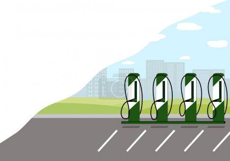 Photo for Charging station electric cars located in the city. Vector illustration - Royalty Free Image