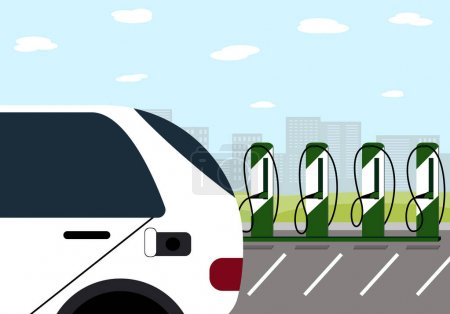 Photo for Charging station electric cars located in the city and the car. Vector illustration - Royalty Free Image