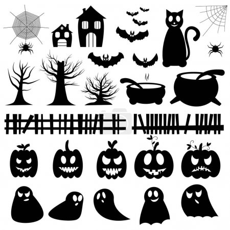 Photo for Set of vector illustrations for Halloween. Set of pumpkins, ghosts, trees, spiders, bats - Royalty Free Image