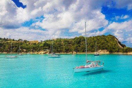 Sailboats at Lakka Bay, Paxos island, Greece