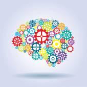 human brain with gears