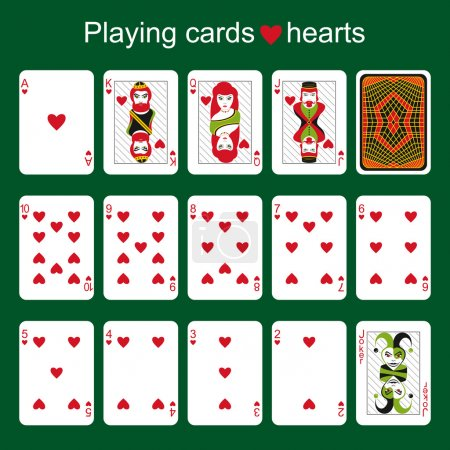 Playing cards. Hearts