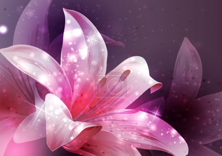 Illustration for Shining flowers composition. vector illlustration - Royalty Free Image