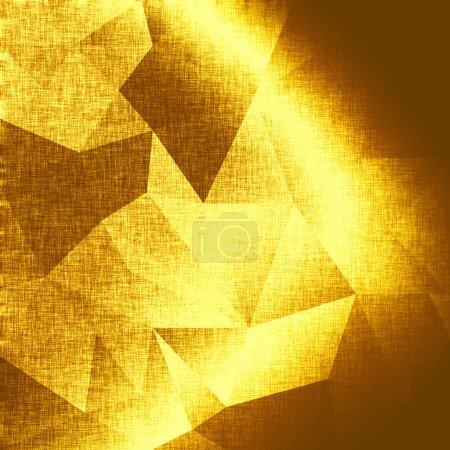 Photo pour Fond d'or abstrait, triangles métalliques. Fond d'or. Modèle de tissu brillant pour les affaires, la publicité, les cartes, les affiches etc. Fond géométrique polygonal. Style poly faible - image libre de droit