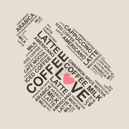 Illustration pour Typiographie du café - forme de la tasse cofee du type - composition typographique - lettres - image libre de droit