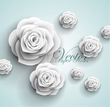 Illustration for Paper flowers abstract background - vector - Royalty Free Image