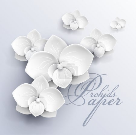 Illustration for Paper flowers background - white orchids vector illustration - Royalty Free Image