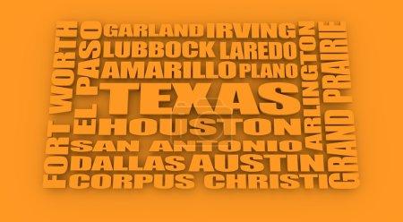 Foto de Imagen en relación con los viajes de Estados Unidos. Texas ciudades y lugares nombres nube. Imagen en relación con el viaje de los E.e.u.u.. - Imagen libre de derechos