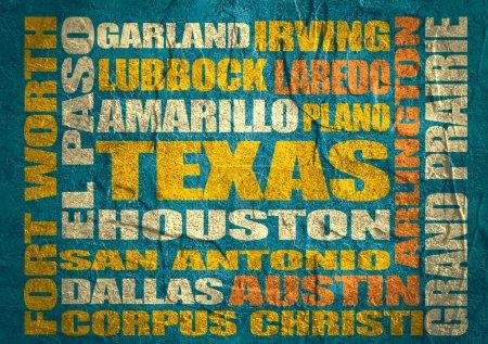 Foto de Imagen en relación con los viajes de Estados Unidos. Texas ciudades y lugares nombres nube. Imagen en relación con los viajes de Estados Unidos. Hormigón texturado - Imagen libre de derechos
