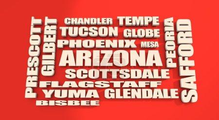 Photo pour Image par rapport aux usa voyages. Villes d'état de l'Arizona - image libre de droit