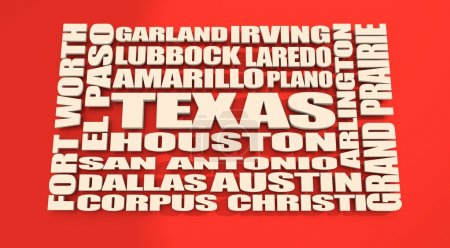 Foto de Imagen en relación con los viajes de Estados Unidos. Nube de nombres de ciudades y lugares de Texas. - Imagen libre de derechos