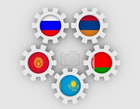 Photo pour Communauté économique eurasienne association de six économies nationales membres drapeaux sur roues dentées. Travail d'équipe mondial. Fond blanc - image libre de droit