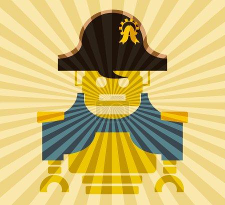 Photo pour Robot vintage mignon. Image relative de l'industrie robotique. Personnage de dessin animé Napoléon Bonaparte. Décor de rayons de soleil - image libre de droit