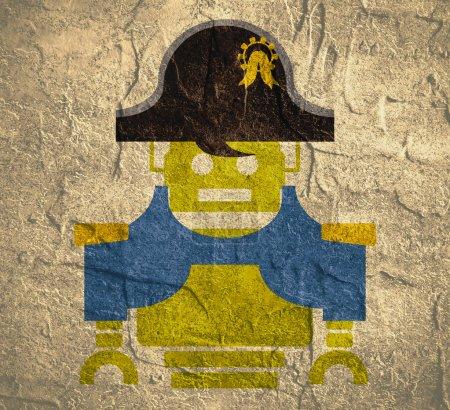 Photo pour Robot vintage mignon. Image relative de l'industrie robotique. Personnage de dessin animé Napoléon Bonaparte. Toile texturée béton de fond grunge - image libre de droit