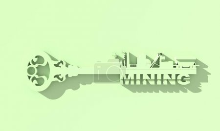 Photo for Concept of a key of mining industry. 3D rendering - Royalty Free Image