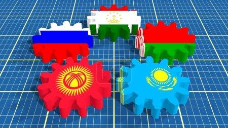 Eurasian Economic Community members national flags on gears