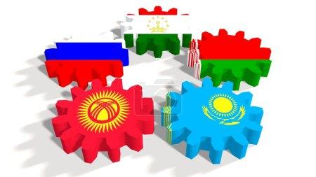 Photo pour Communauté économique eurasienne association de six économies nationales membres drapeaux sur roues dentées . - image libre de droit