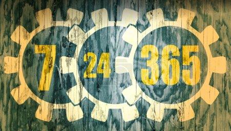 Zeitanzeigesymbol 7, 24, 365 auf Holzstruktur