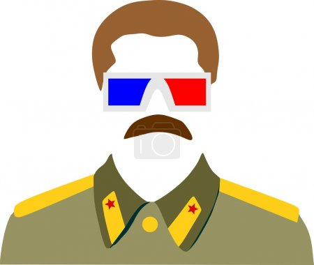 Vector portrait of Joseph Stalin. Stereo glasses