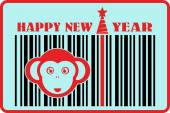monkey icon on barcode with happy new year text