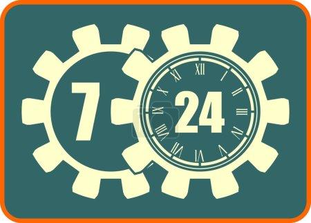 timing badge symbol 7, 24, 365