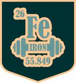 Iron text and dumbbell icon on shield sticker Image relative for gym and bodybuilding Remastered iron chemical element tag Chemistry in metaphor design Speech bubble design