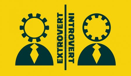 Illustration for Extrovert vs introvert simple icon metaphor. image relative to human psychology - Royalty Free Image