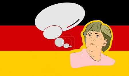 illustration of a portrait german chancellor angela merkel