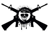 Abstract vector illustration crossed automatic rifles and skull in beret for t-shirt design and tattoo