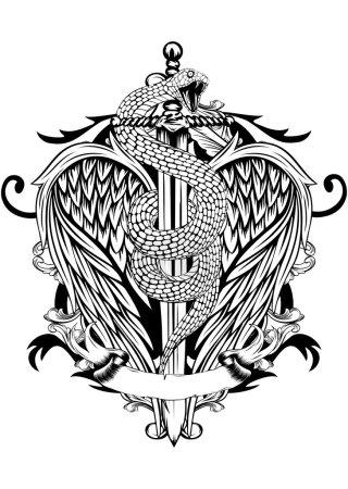 Illustration pour Illustration vectorielle abstraite épée avec serpent et ailes - image libre de droit