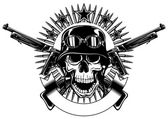 skull in helmet and crossed machine gun