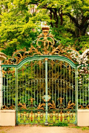 Photo for Majestic gate decorated with golden crowns - Royalty Free Image