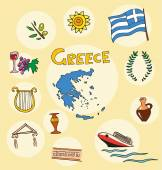 The set of national profile of the greece cartoon state of the world isolated