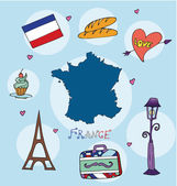 The set of national profile of the france cartoon state of the world isolated
