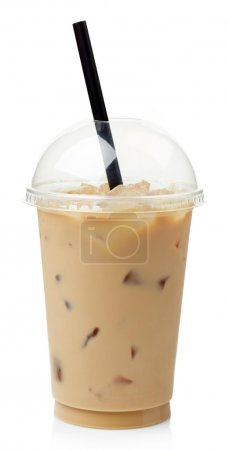 Photo for Iced coffee in plastic take away glass isolated on white background - Royalty Free Image