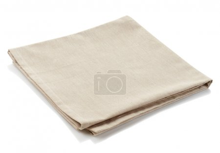 Photo for Beige cotton napkin isolated on white background - Royalty Free Image