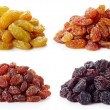 Collection of various raisins isolated on white ba...