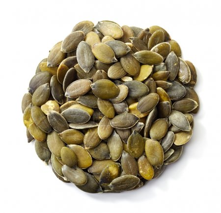 Photo for Circle of pumpkin seeds isolated on white background - Royalty Free Image