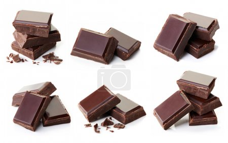Photo for Collection of various dark chocolate pieces isolated on white background - Royalty Free Image