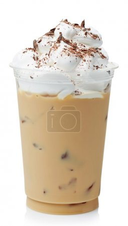 Photo for Iced coffee covered with whipped cream in plastic glass isolated on white background - Royalty Free Image